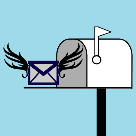 Mail box vector illustration in the flat style. Red mail box post. Open mail box with an envelope on the cover isolated from background. Illustration