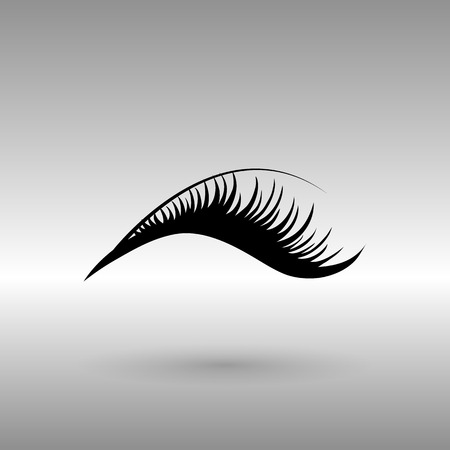 black eyelashes icon on a gray background