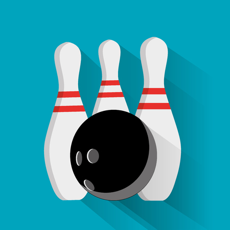 Bowling ball and pin vector set isolated from the background. Icons for a bowling alley or game in a flat style. Symbols active recreation. Illustration