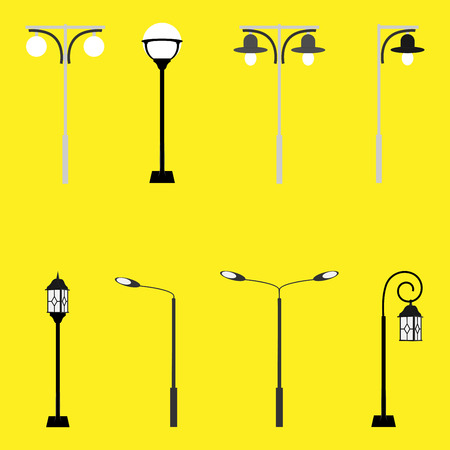 ferrous: Vintage streetlights. Vector retro street lamp lights isolated on white background