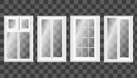 front porch: Modern wide sliding window with transparent glass. Vector graphics. The interior of the room. Illustration