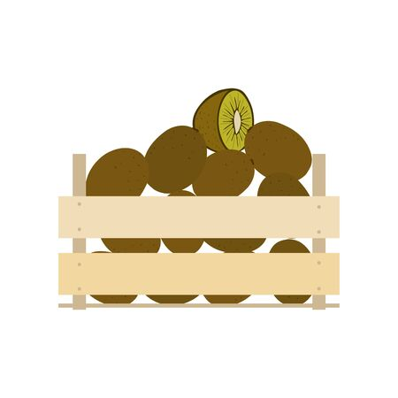 Vector crate with fresh fruits. Natural, healthy food concept. Organic fruits from the farm collected in the wooden box. Flat design style. Illustration