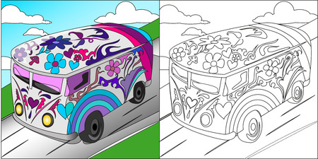 camper: Hand drawn doodle outline retro bus travel decorated with ornaments.Vector zentangle illustration.Floral ornament.Sketch for tattoo or coloring pages.Boho style.