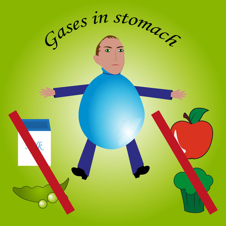 Gases in stomach. Vector. Cartoon. Isolated. Flat. Illustration for websites, brochures, magazines. Illustration