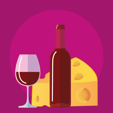 flat icon bottle of wine, glass of wine cheese Illustration