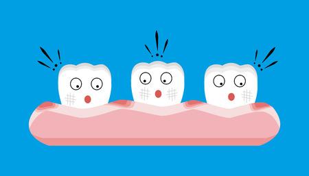 periodontics: Gingivitis and blood ,dental concept Illustration