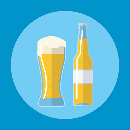 Bottle of beer with glass Vector Illustration