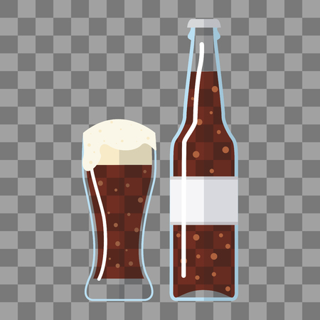 Bottle of beer with glass