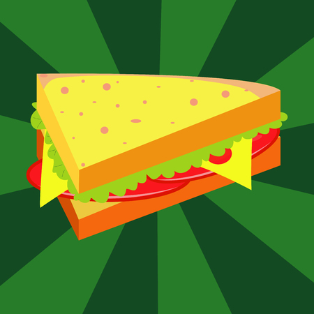 peppar: Ham and vegetable sandwich illustration.