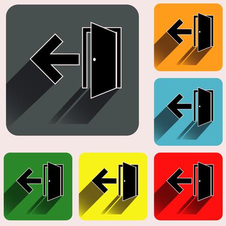 Iconos de la muestra de salida en cuadrados redondeados fondos de colores vivos. Ilustración de vector