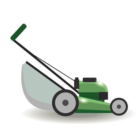 Lawn mower machine icon technology equipment tool, gardening grass-cutter - vector stock. Illustration