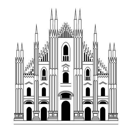 밀라노 대성당. 고딕 건축입니다. 벡터 손으로 그려진 된 그림
