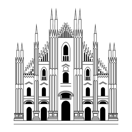 Milan Cathedral. Gothic architecture. Vector hand drawn illustration Stock Illustratie