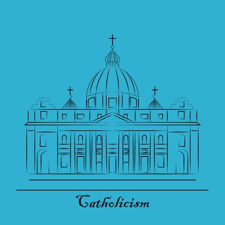 black history: St. Pauls Cathedral, London landmark vector Illustration. Outline design element for tourism banner, flayer, website background. Illustration