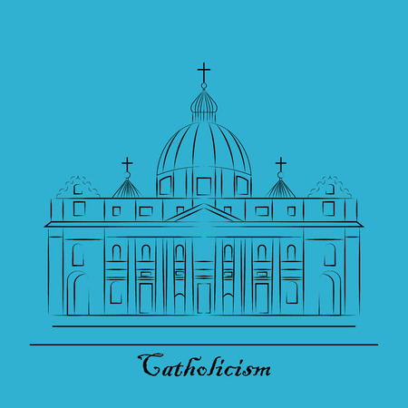 St. Pauls Cathedral, London landmark vector Illustration. Outline design element for tourism banner, flayer, website background. Illustration