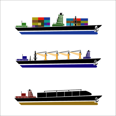 Beautiful flat four colored loaded container ship decorative element.