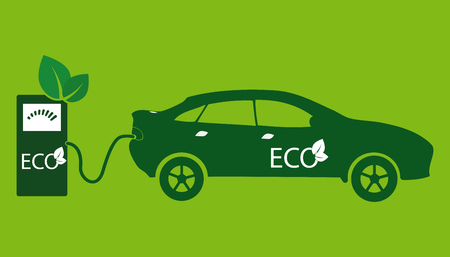 Electric car icon Vector Illustration. Side view of electric car and charging station.