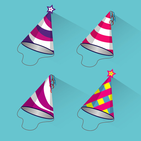 streamers: Party different hats collection for a birthday celebration, new year and other holidays.