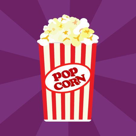 Popcorn in a red striped bucket box. Illustration