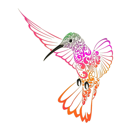 Hummingbirds embroidery. Embroidered bird. Vector decorative element for embroidery, patches and stickers