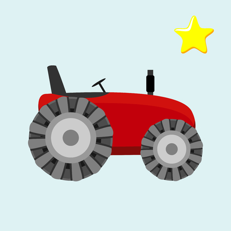 traction engine: Tractor. Vector illustration of a red tractor in a flat style isolated on white background. Heavy agricultural machinery for field work