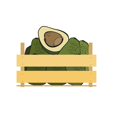 wood crate: Vector crate with fresh vegetables. Natural, healthy food concept. Organic fruits and vegetables from the farm collected in the wooden box. Flat design style. Illustration