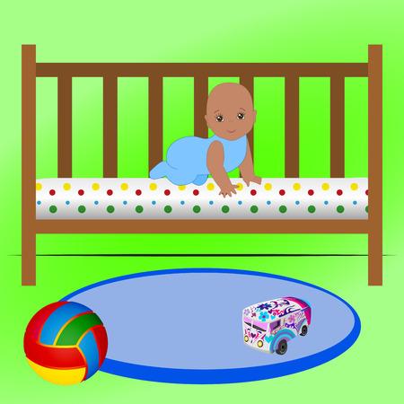 Cute Cartoon Baby Boy Crawling Vector Illustration. Illustration