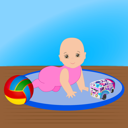 Baby Girl playing with rattle Illustration