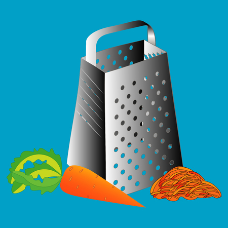 Grate set. Grated carrots. Cooking process vector illustration. Kitchenware and utensils isolated on white.