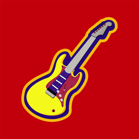 Burning red electric guitar - musical instrument Stock Photo