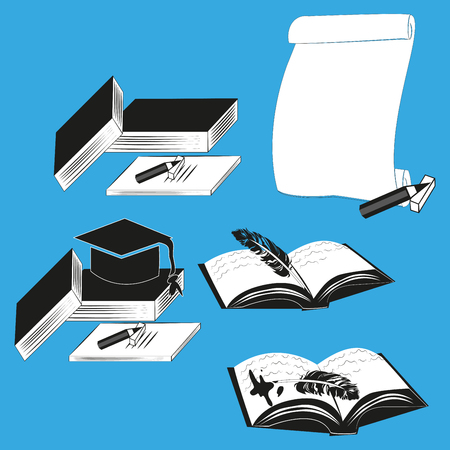 Education icons: vector set of elementary school and university signs