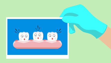 Vector cartoon teeth feel shock because gingivitis blood ,dental concept illustration.