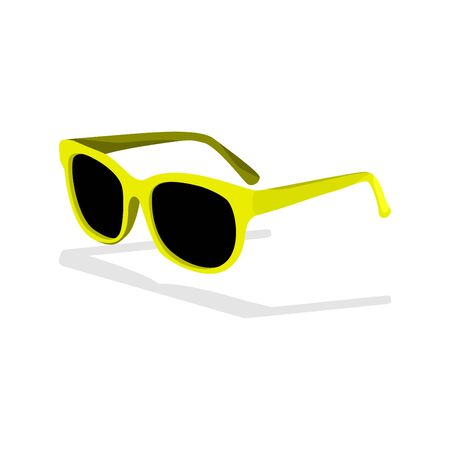 Vector illustration of yellow isometric hipster sunglasses in cartoon style isolated on the background Illustration