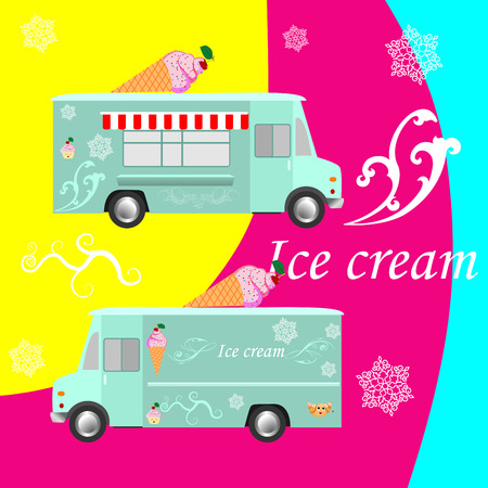 A design on simplified ice cream truck, side view illustration.