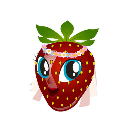 Cartoon strawberry giving thumbs up Illustration