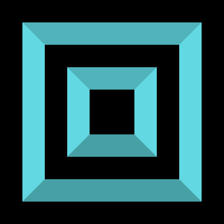 Abstract square element with deformation effect. Converging squares.