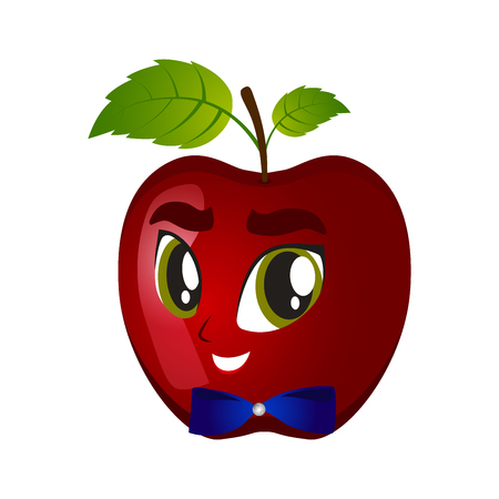 illustration of winking apple smiley on a white Illustration