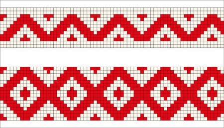 folkart: Ukrainian or Belarusian folk art embroidery pattern with horses in red and white Illustration