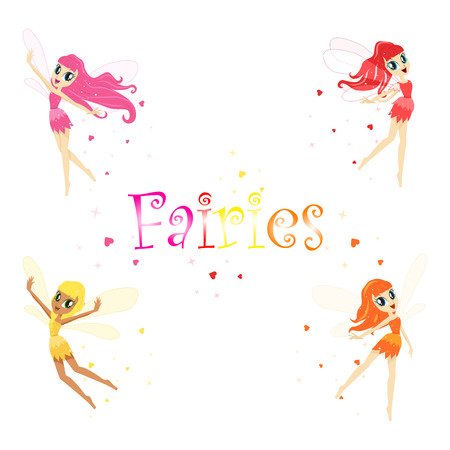 Colorful Rainbow Set Of Cute Girly Fairies With Winds And Long Hair Dancing Surrounded By Sparks And Stars In Pretty Dresses Illustration
