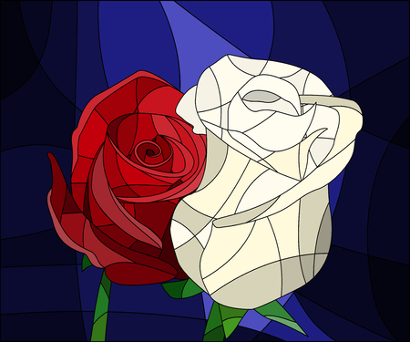 Illustration in stained glass with flowers and leaves of red rose on brown background in a bright a frame