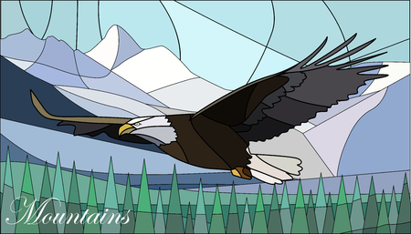 Stained-glass style with mountains and eagle Illustration