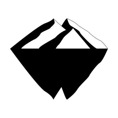 3D iceberg in black and white illustration