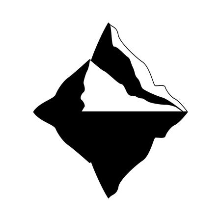 Realistic iceberg in black and white illustration,