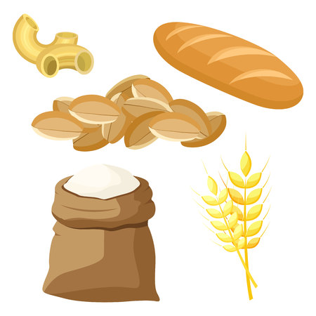 Thematic set of food products from wheat and flour. Vector illustration. Ilustração