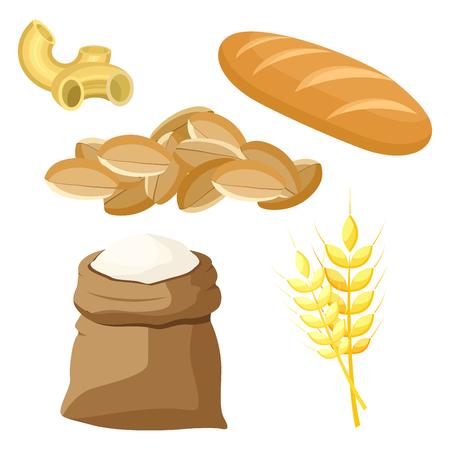 Ensemble thématique de produits alimentaires à base de blé et de farine. Illustration vectorielle.