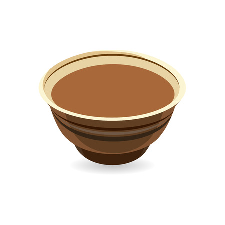 Realistic vector clay pot, traditional European pottery ideal for baking food and cooking in the oven. Illustration