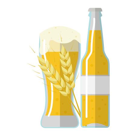 produits céréaliers: Illustration vectorielle de l'étiquette de la bière d'orge