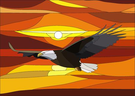 Illustration vectorielle du coucher du soleil avec des nuages ??dans le vitrail. Banque d'images - 84948500