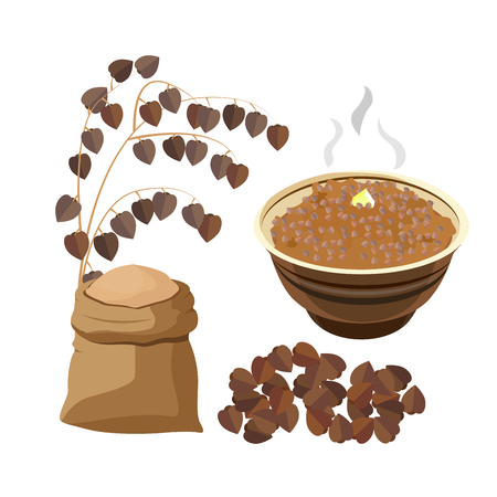 illustration of boiled buckwheat porridge with butter in bowl