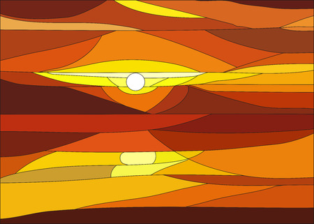 Illustration of sunset with clouds in stained glass window.